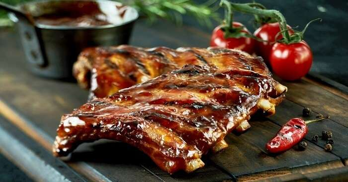 Grilled spare ribs BBQ tomatoes vintage og