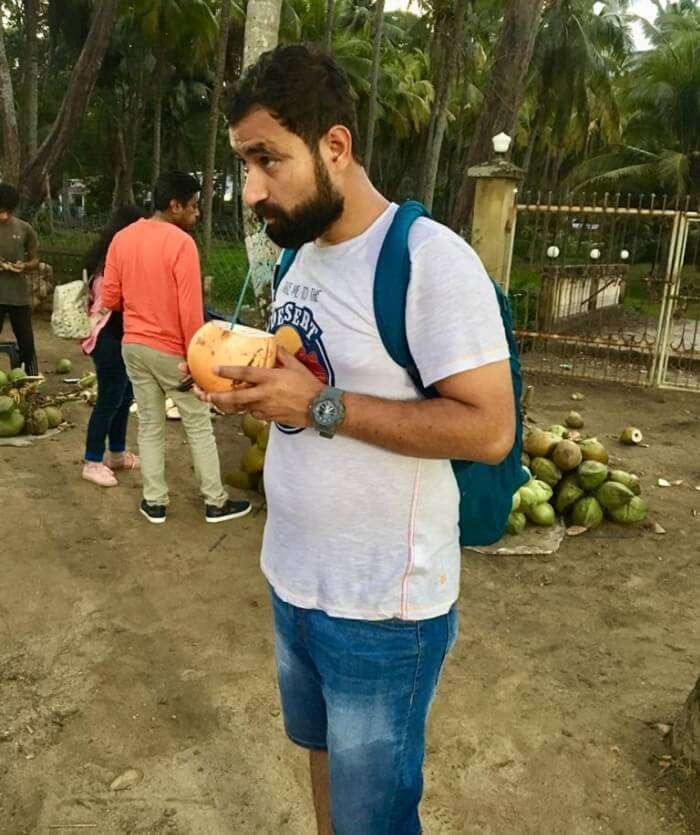 a beautiful coconut-palm fringed beach