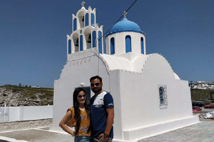 on a tour to Santorini Island