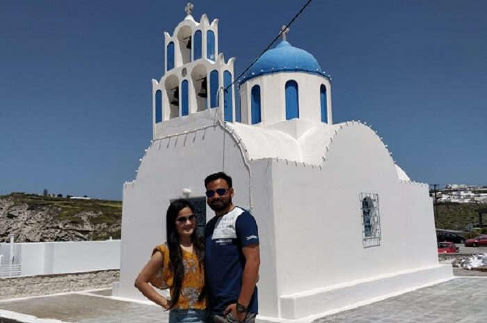 on a tour to Santorini Island