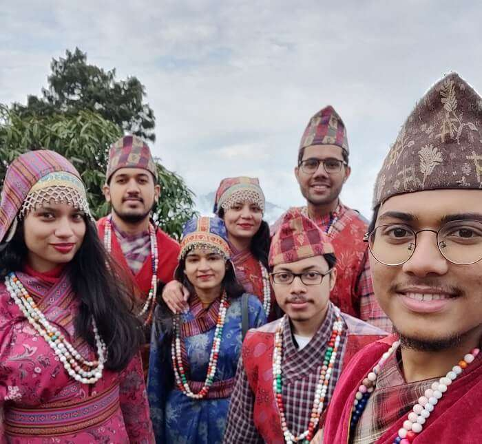 dressed up in a traditional outfit of Sikkim