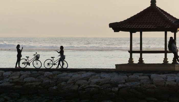 silhouette scene in Bali