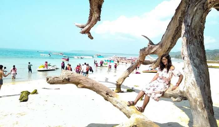 the white sand beach