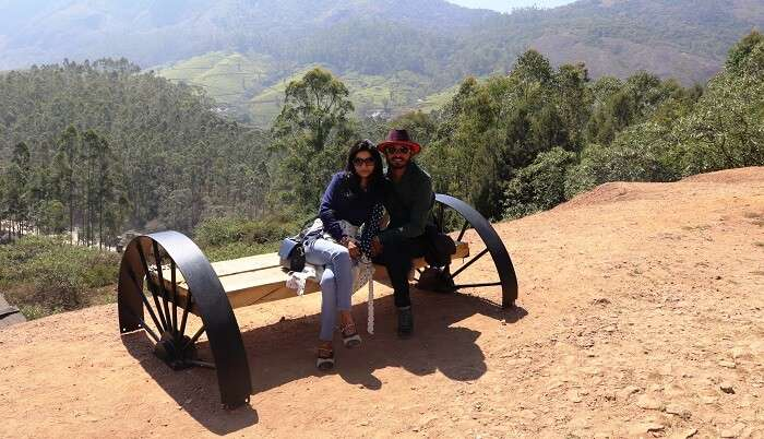 sitting on the cart in Munnar valley