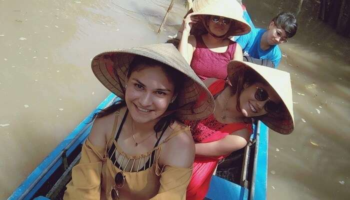 a boat tour at the Tam Coc Harbor in Nihn Bihn