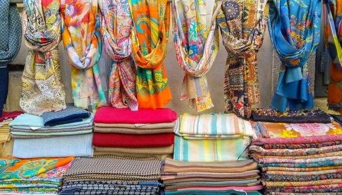 silk clothing n a market