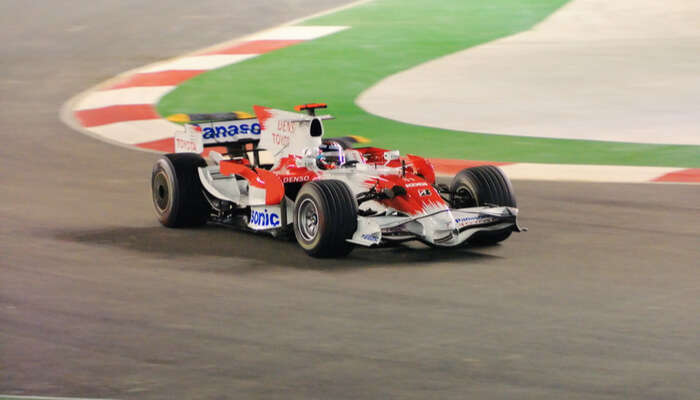 racing car at singapore grand prix