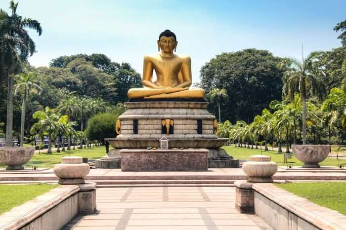 Buddha statue in a park in maharagama