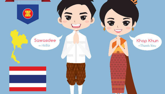 Thai male and female caricature