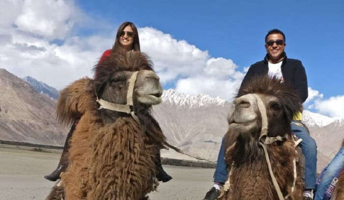 Riding on the back of these camels in the desert of Nubra