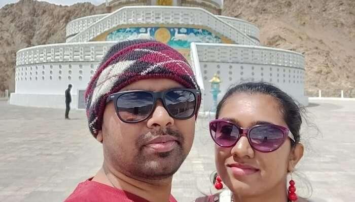 at the Shanti Stupa