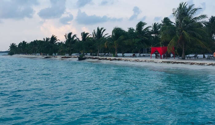 reached to the beautiful Maldives beach