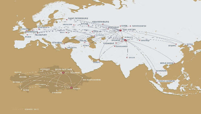 Route map Air Astana flights