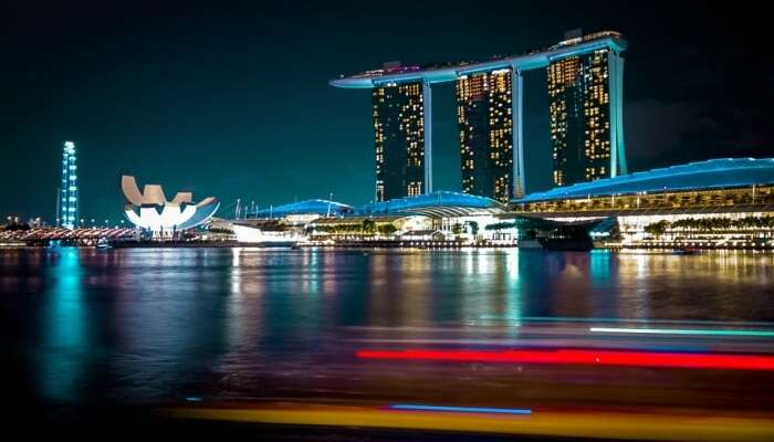 city lights in Singapore at night