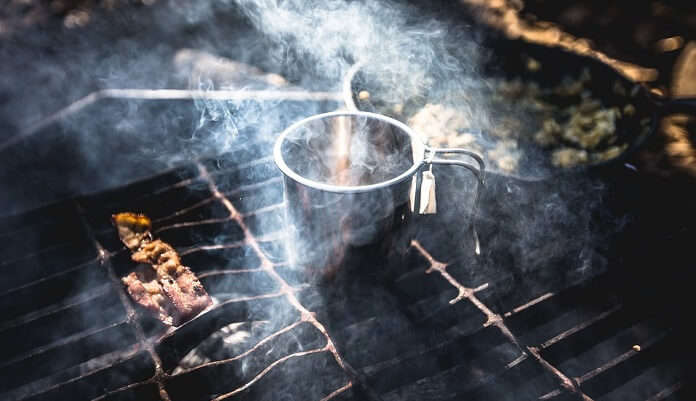 Mug Bokeh Tin Smoke Grates Grill Camp Food