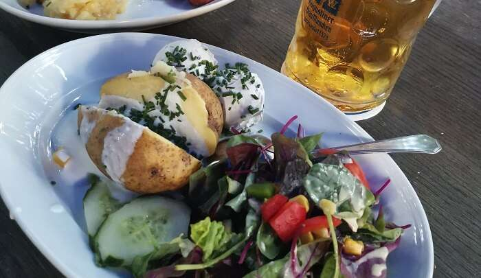 delicious food with beer