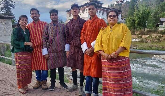 in a traditional attire