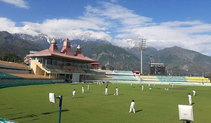 visited to cricket stadium in Dharamshala
