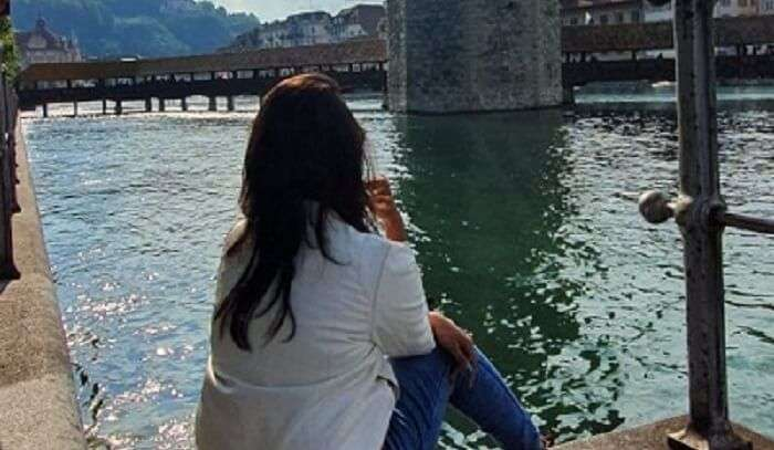 looking at the beauty of the crystal clear water lake