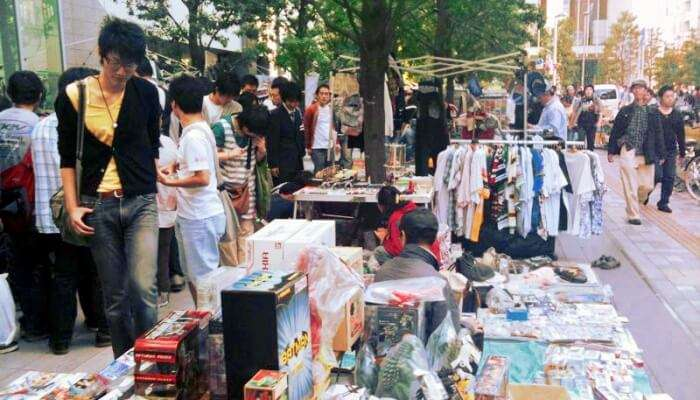 bustling street market in Japan
