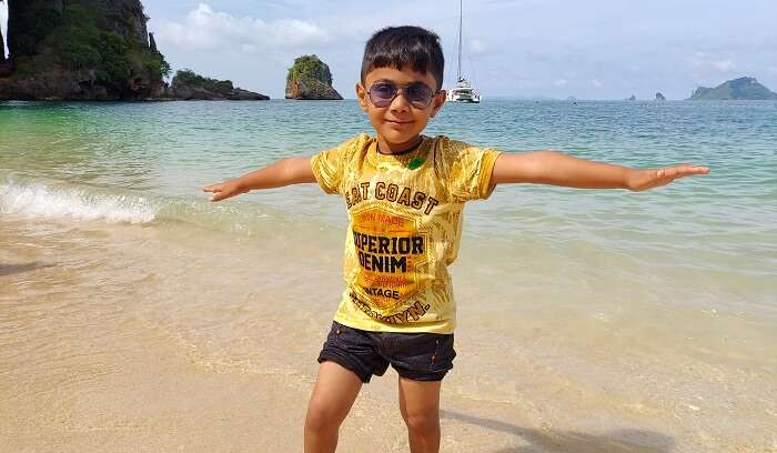 kid enjoying at Phra Nang Beach