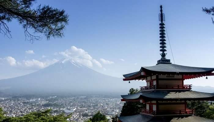 japanese temple with mount Fuji at the backdrop