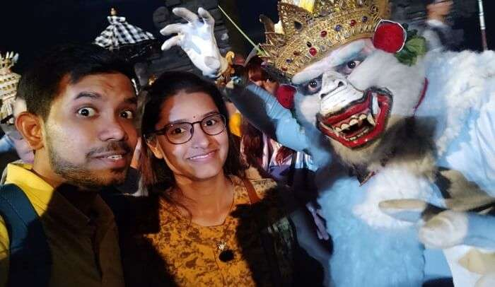 with one of the Kecak dance characters