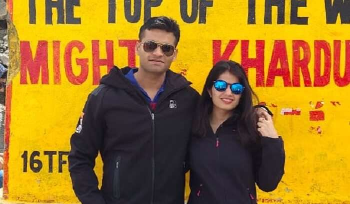 at khardungla pass with friends