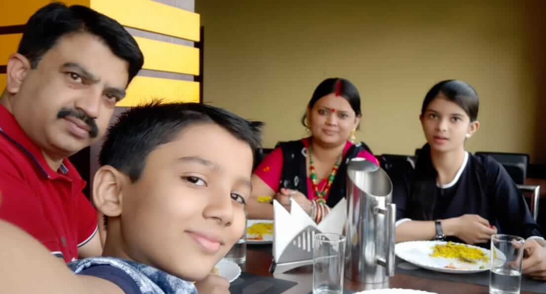 having lunch with family
