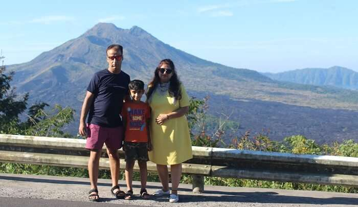 sightseeing of the volcano with family