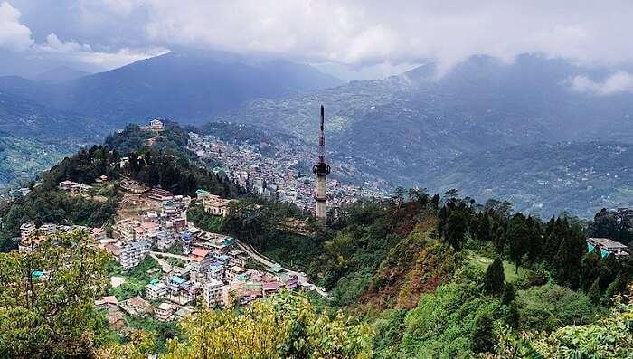 aerial view of gangtok
