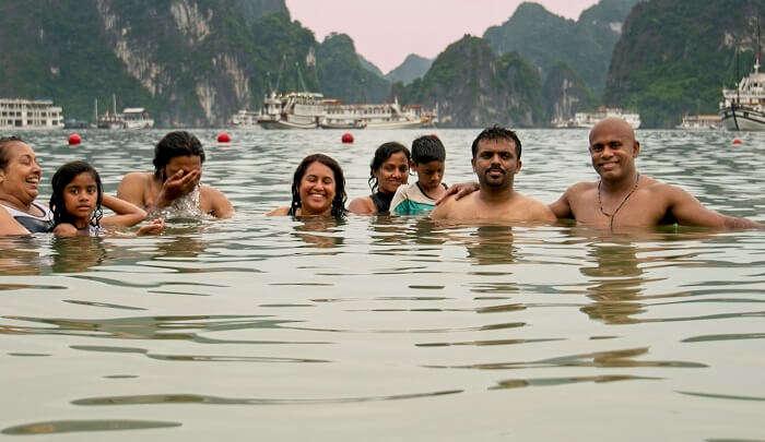 enjoyed the swimming at the halong bay