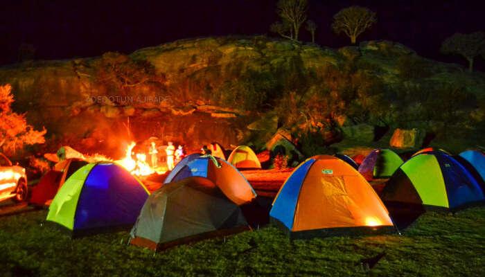 camping beside reneh falls