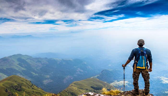 Trekking on peak of mountain