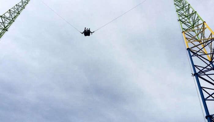 Human Slingshot In Air