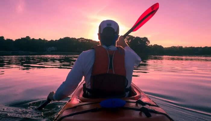 Kayaking in Pink Evening
