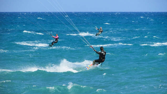 Kiteboarding in Blue Water