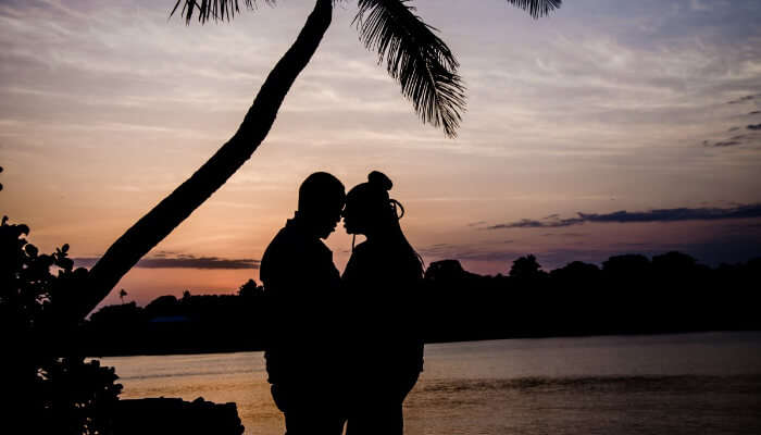 silhouette of a couple on a beach