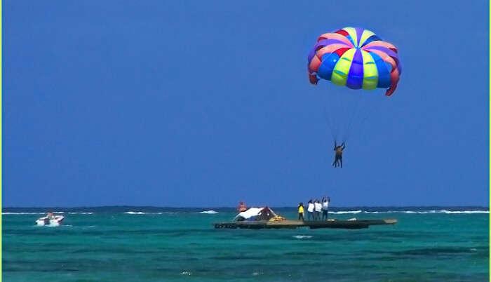 Parasailing above the sea