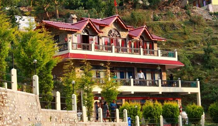 hotel situated on mountain valley