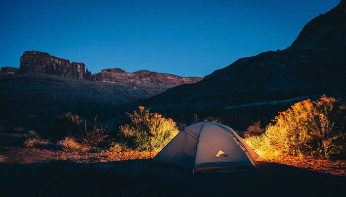 camping view of sandhan valley