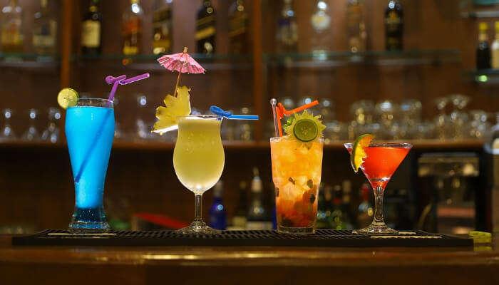 drinks at a pub