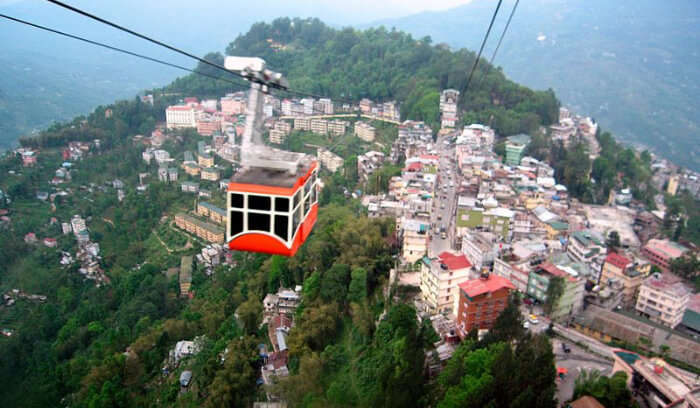 Ropeway above the buildings