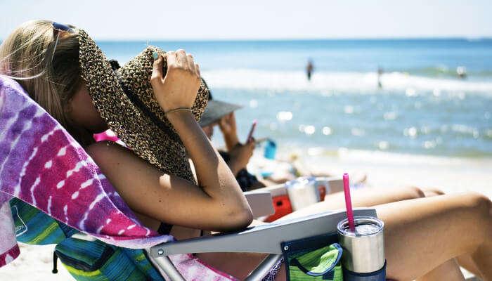 Girl taking sunbathing