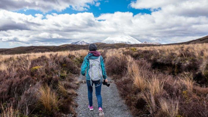 A Girl Is Trekking In a Path