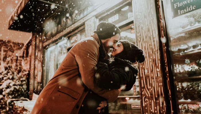 Couple Romance in Winter
