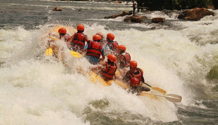 a group of friends during rafting