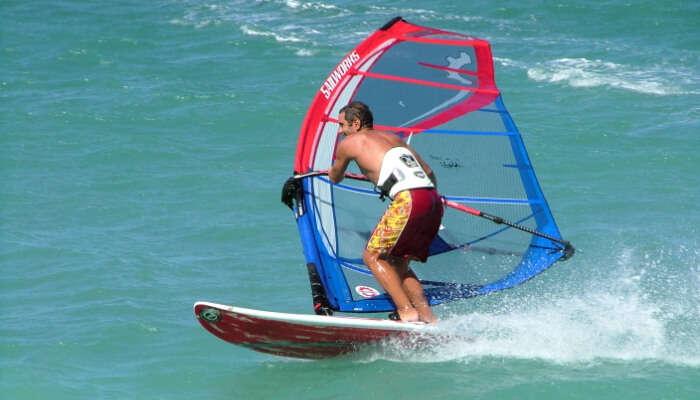 Windsurfing in sea