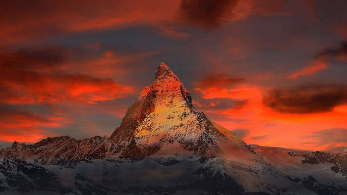 Famous peak with red sky