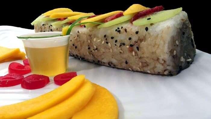 mango dessert with rice roll